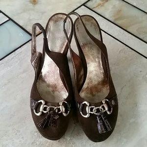 Nine West Brown Leather Heels 10
